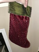 Pottery Barn Beaded And Sequins Christmas Stocking Red And Green Velvet 19.5