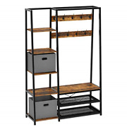 Rolanstar Hall Tree With Storage Bench 5-in-1 Entryway Shelf With Coat Rack 5