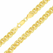 10k Yellow Gold Mens 6mm Double Curb Cuban Link Pendant Chain Necklace Italy 30