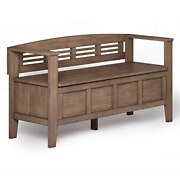 Simplihome Adams Solid Wood 48 Inch Wide Entryway Storage Bench With Safety Aged