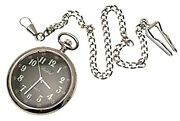Black Face Pocket Watch Reproduction Wwi Style Mechanical Open Face