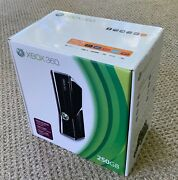 Xbox 360 S 250gb Launch Ed Gloss Black Slim Console W/ New Headset 1439 Complete