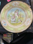 Vintage Vienna Art Plate Woman And Doves Art Tin Litho Plate
