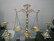 Excellent Vintage Brass Hanging Balance Scale Of Justice