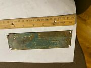 Vintage Brass Plate Tag Palmer Engine Company Cos Cob Connecticut Marine Engines