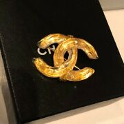 Used Very Rare Brooch Coco Mark Gold Color 1999 Vintage Very Nice