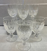 6 Vintage Waterford Cut Crystal Colleen Claret Wine Goblets Signed