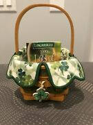 Longaberger 1999 Lots Of Luck Basket W/protector, Liner, Tie-on - Euc- Free Ship