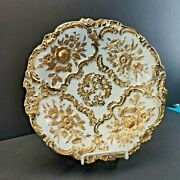 Rare Antique Meissen Porcelain Gold And White Plate, Germany