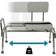 Sliding Transfer Bench Heavy-duty Plastic Freestanding White With Cut-out Seat