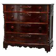 Antique Victorian Flame Mahogany Swell Front Marble Top Chest Circa 1860