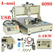 4 Axis 6090 Usb Cnc Router Engraver Engraving Machine Metal Carving Mill 2.2kw