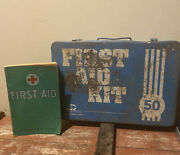 Vintage Acme Blue Metal Industrial First Aid Kit And 4th Edition 1957 Textbook