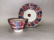 Staffordshire Rainbow Spatterware Spatter Majenta And Purple Cup And Saucer 1830