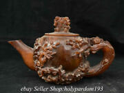 11.6 Marked Chinese Ox Horn Carved Flower Lid Water Vessel Handle Kettle