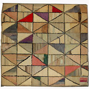 Handmade Antique Square American Hooked Rug 2and039x2.1and039 61cm X 64cm 1880s - 1b504