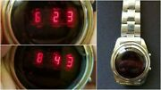 Fossil Red Led Watch - Fossil Jr-7750 Original Band, Working Rare Wristwatch