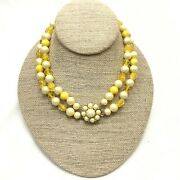 Vintage Marvella Faux Pearl Lucite Crystal Bead Choker Necklace, Costume Jewelry