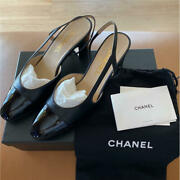 Used Slingback Shoes Pumps High Heels Black Color 38.5 Size With Box