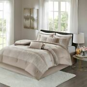 Luxury 7pc Taupe Chenille Jacquard Textured Comforter Set And Decorative Pillows