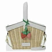 🍓kate Spade Strawberry Wicker Picnic In The Park Basket 🍓 Nwt