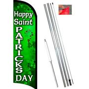 Happy St Patricks Day Premium Windless-style Feather Flag Bundle 14' Or Replacem