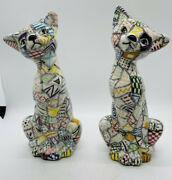 Vtg Cat Patchwork Calico Folk Art Figurine Kitty Hand Painted 8.5andrdquo Tall