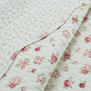 Cozy Shabby Chic White Pink Red Green Leaf Cottage Soft Romantic Rose Quilt Set