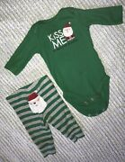 Carters My First Christmas Green Santa Outfit Size 3 Months