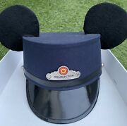 Disney Parks Blue Mickey Mouse Ears Red Car Trolly Conductor Hat Sz Adult L / Xl