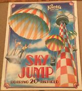 Original Knott's Berry Farm Sky Jump 1980 Rolled Poster 22 By 28, Rare Vintage