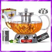 Glass Teapot With Candle Warmer Stove Removable Tea Infuser Stovetop 40 Oz Pykal