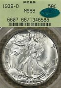 1939-d 50c Pcgs Ms66 Cac Walking Liberty Silver Half Dollar Ogh Old Green Holder