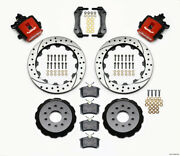 Wilwood Fit Combination Parking Brake Rear Kit 12.88in Drilled Red Mustang 94-04