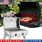 2-burner Gas Grill Portable 2000 Btu Bbq Grid With Foldable Legs For Outdoo