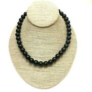 Jet Black Round Glass Bead Choker Necklace, Faux Black Pearl Costume Jewelry