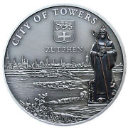 Niue 5 Dollars 2010 Silver Antique Unc Bronze Plated And039city Of Towers - Zutphenand039