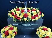 Solar Torch + Angel Double Cemetery Memorial Flower Headstone Saddle + Bushes