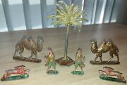 Vintage Lead Figures Palm Tree , Camels , Rabbits , Soldiers 1960's - Lot Of 7