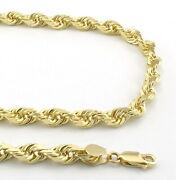 14k Yellow Solid Gold Mens 6mm Italian Diamond Cut Rope Chain Link Necklace- 24