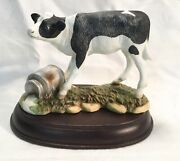 Vintage Homco Calf/ Cow Figurine Spilled Milk Can 1437