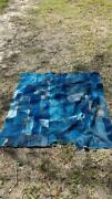 Antique Indigo Dyed Patched Fabric Tapestry Blue Height 166 Width 148cm Used