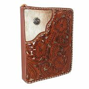 Western Leather Bible Cover-unisex-floral Tooled-corner Hair Underlay-nail Head