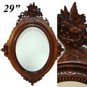 Antique French Black Forest Style Carved Walnut 28.75 Wall Mirror Frame Bird