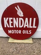 Vintage, Original Kendall Motor Oil , Double-sided Gas Station Sign - 24