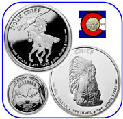 2020 And 2021 Sioux Indian War Chief And Chief Portrait 2-1 Oz 1 Bu Silver Coins