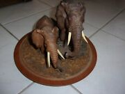 Antique Elephant Realistic Pair Hand Carved Detailed Wood Sculpture Fine Art