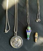 Ancient Greek Silver Coin Pendant And Silver Gem Inlaid Mummy/sarcophagus Pendant