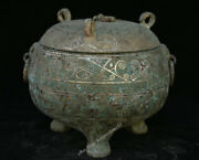 8chinese Dynasty Palace Old Antique Bronze Beast Stria 3 Foot Lid Pot Jar Crock