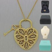 And Co. 18k Yellow Gold Heart And Key Filigree 18 Necklace